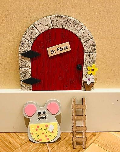 Puerta mágica Ratoncito Pérez que se abre, MADERA ROJA, incluye ratón guardadientes y escalera.: Amazon.es: Handmade