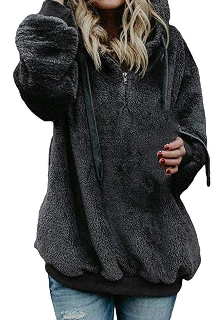 pipigo Womens Fleece Drawstring Zipper Autumn Hooded Sweatshirts with Pocket