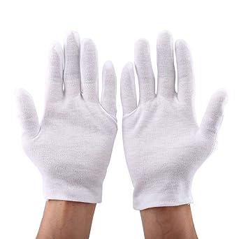 12 pares de guantes prácticos de seguridad para el trabajo de algodón, guantes suaves y livianos para servir/camareros/conductores/protección de inspección de joyas con monedas, blanco: Amazon.es: Industria, empresas y ciencia
