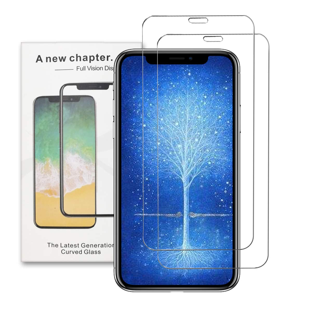iPhone Xs/X Screen Protector Glass, Eastoan iPhone Xs/X Tempered Glass Screen Protector with Easy Installation Tray for Apple iPhone Xs, iPhone 10S (2-Pack) (iPhone X/XS)