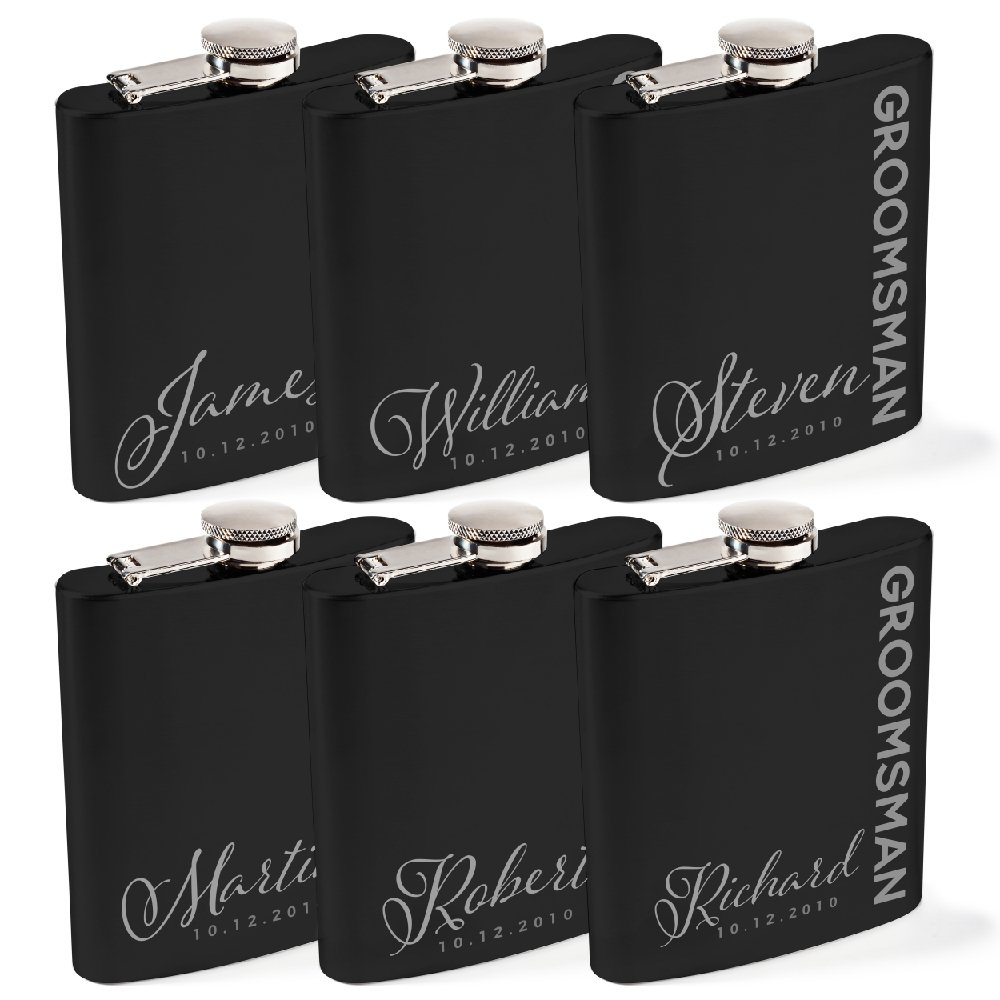 Personalized Flask For Wedding Groomsmen Gift, Customized Flask Set FREE Personalization - Laser Engraved - Design -6 | Set of 6