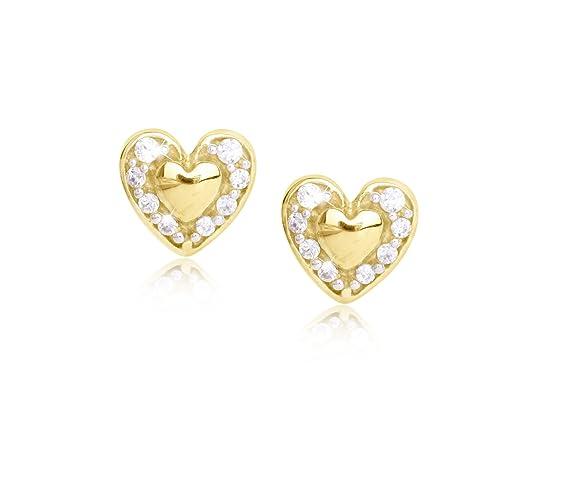 MyGold Herz Ohrstecker Stecker Ohrringe Gelbgold 333 Gold (8 Karat) Mit Stein Zirkonia Brillant-Schliff 5mm x 5mm Mini Herzch