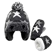 Baby Boy Hat and Mittens Set - Toddler Kids Soft Warm Winter Knit Hat with Snow Earflaps Beanie (2-4Years(Head Girth 20.5 ), Gray Star)