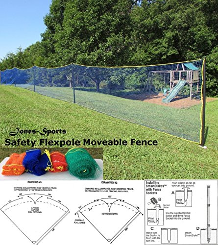 USA SAFETY FLEXPOLE 4' TALL ALL SPORTS BASEBALL SOFTBALL OUTFIELD FENCE KIT (Blue, 4' X 150') Outfield Fence