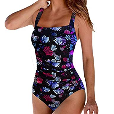 7e680b3115 Clearance! Sunfei Women's Retro Floral Printed Pad Push-up One-Piece  Swimsuit Tummy