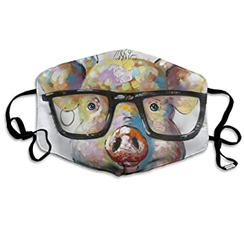 Mmhome Pig Watercolor Painting With Glasses Facial Mask For Dust