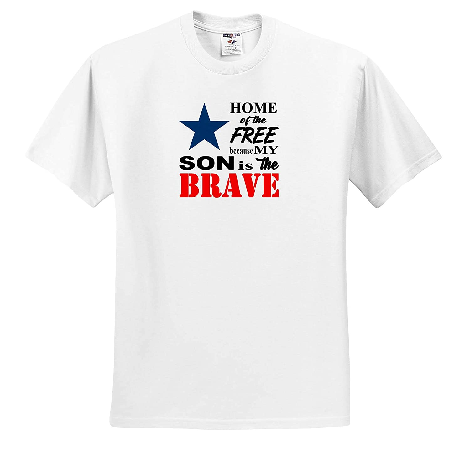 Quotes Adult T-Shirt XL ts/_319910 Home of The Free Because My Son is The Brave Quote 3dRose Amanda Levermann