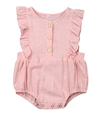 3981b1b1e Emmababy Newborn Baby Girl One-Piece Romper Cotton Linen Playsuit Sunsuit Flutter  Sleeve Bodysuit Outfits