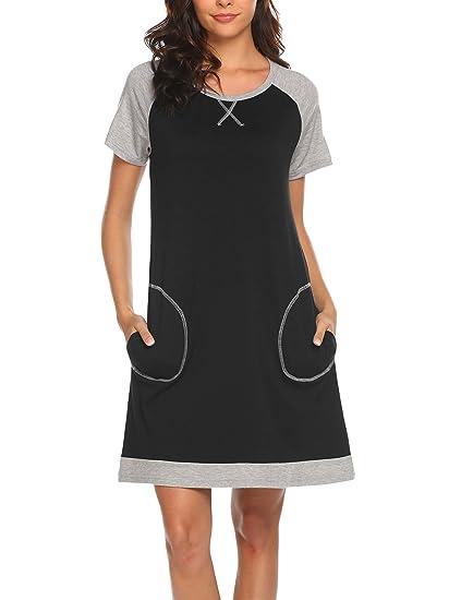 Ekouaer Sleepwear Short Sleeve Nightgowns Loungewear Homewear Leisure  Sleepshirts(Black S) 17e81934d