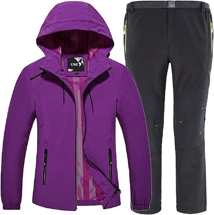 mujeres invierno chaqueta y pantalón Mujer Impermeable Chaqueta ...