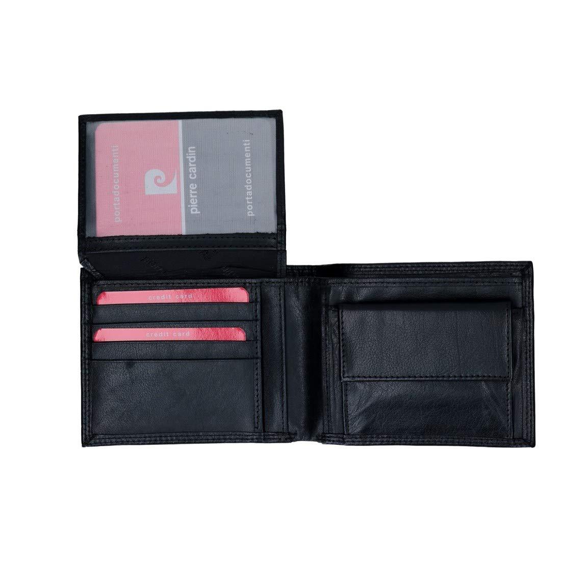 PIERRE CARDIN cartera hombre cuero negro con monedero y solapa VA2742: Amazon.es: Ropa y accesorios