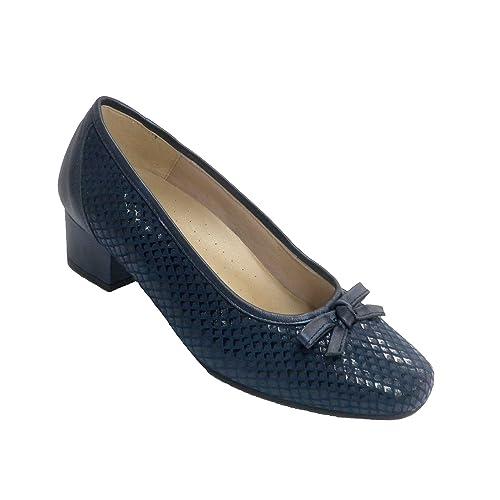 Zapato Mujer Tipo manoletina tacón Medio con Lazo Plantilla extraíble Doctor Cutillas en Azul Marino: Amazon.es: Zapatos y complementos