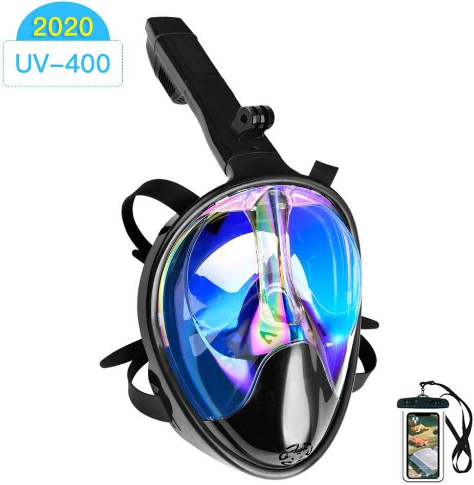 Arkmiido Máscara de Buceo, máscara de Snorkel Full Face 180 ° Visible con Soporte para cámara Deportiva, Fuga submarina Anti-huida, Anti-UV, para Adultos