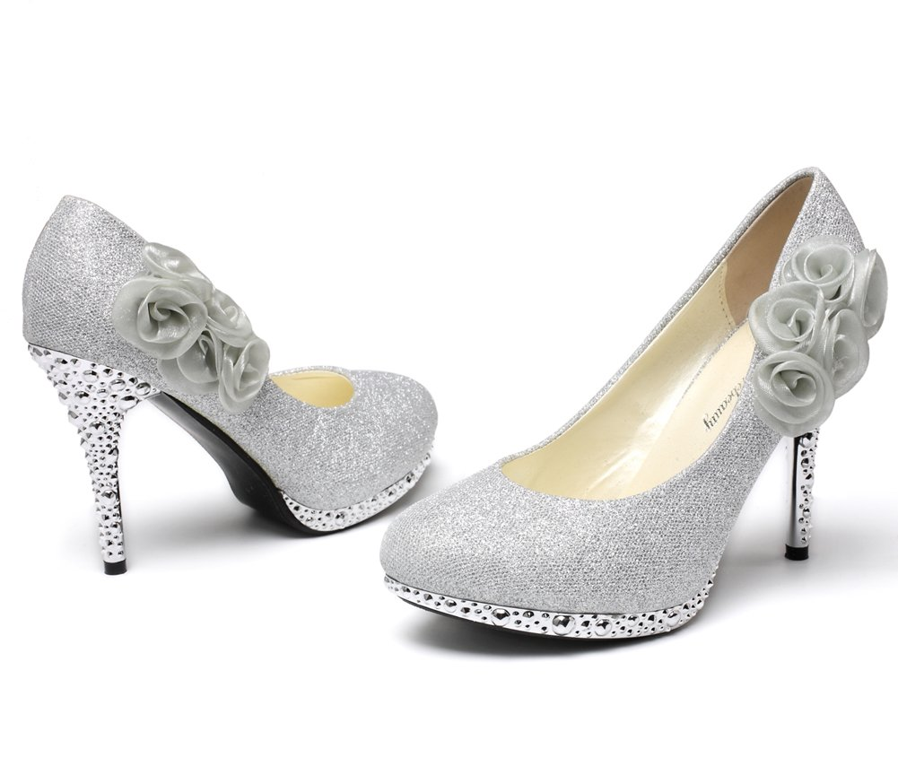 29db1961f56 getmorebeauty Women s Rose Flower Crystal Glitter Wedding Shoes   Pumps    Clothing