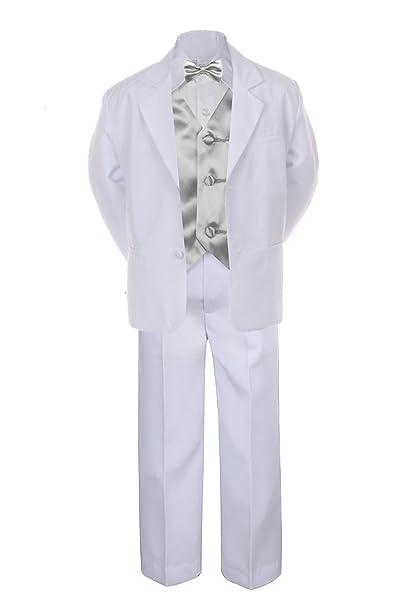 Amazon.com: 7pc plata chaleco pajarita de Boy bebé Kid color ...