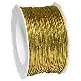 Morex Ribbon 1318/50-634 Stretch Cord Polyester Ribbon, 50 yd, Gold