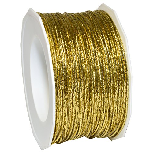 Gold Polyester Ribbon (Morex Ribbon 1318/50-634 Stretch Cord Polyester Ribbon, 50 yd, Gold)