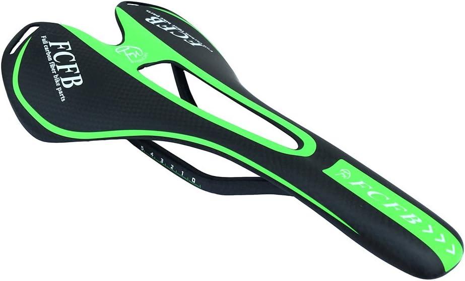 Sillín de Bicicleta de Carbono, Ultraligero 3K de Fibra de Carbono, Asiento de Bicicleta Unisex 275 x 143 mm para Bicicleta de montaña MTB de Carretera – 5 Colores, FCFB_SD_2, Verde: Amazon.es: