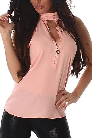Voyelles Camisas - Blusa - Liso - Cuello Alto - para Mujer Rosa L ...
