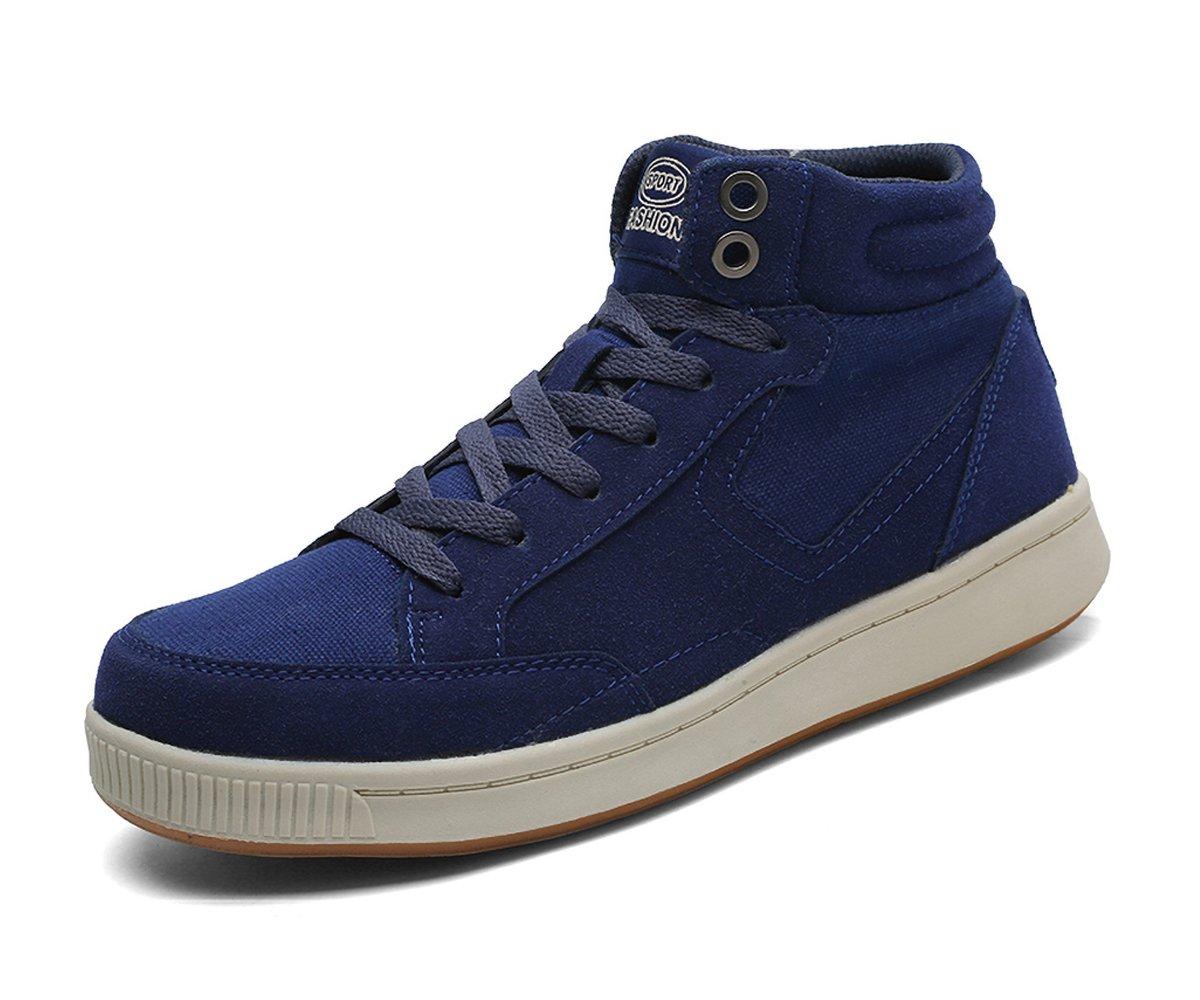 runandup Mens Winter Snow Boots Fur Lined Warm Sneaker Waterproof Outdoor Shoes Blue