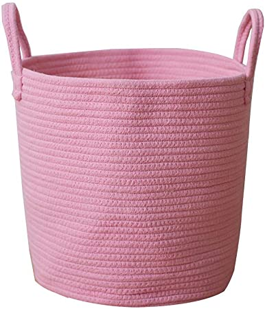 Jessedaa Cotton Rope Woven Storage Baskets Household Goods Toy Storage Bag Candy Storage Bins Baby Laundry Hamper and Diaper Box with Handles,Nursery Toy Chests Organizer and Kids Room Decorative