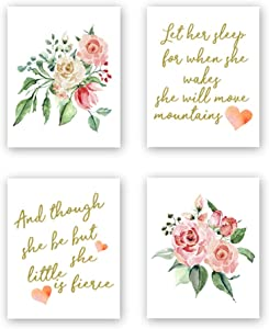 Inspirational Quote Typography Watercolor Floral Art Painting Poster,Motivational Letterings Cardstock Art Print For Kids Girls Room Wall Art Decor (set of 4, 8'' x 10'',Unframed)
