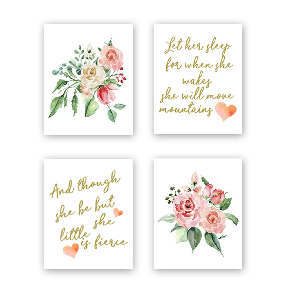 Sanrx Inspirational Quote Typography Watercolor Floral Art Painting Poster Motivational Letterings Cardstock Art Print for Kids Girls Room Wall Art