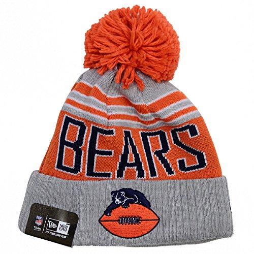 - Mens Winter Blaze Cuffed Knit Hat with Pom (One Size, Chicago Bears)