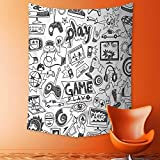 Mandala Tapestry Wall Tapestry Bohemian Wall Hanging Black and White Sketch Style Gaming Design Racing Monitor Device Gadget Teen 90s Wall Art Wall Decor Beach Tapestry