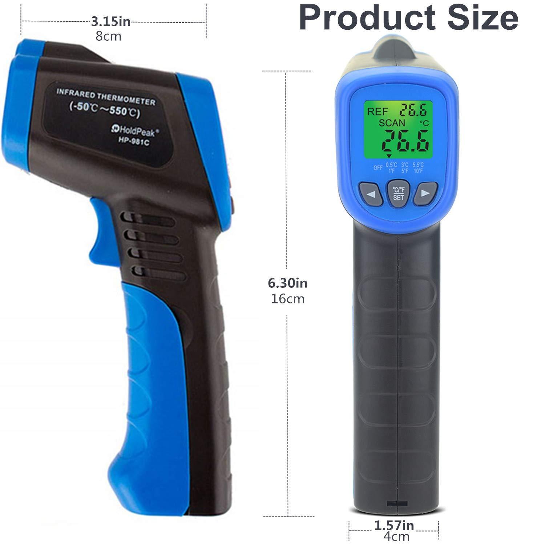 und Au/ßenbereich HP-981 Serie HP-981C blue HoldPeak Ber/ührungsloses Infrarot-Thermometer f/ür den Innen kabellos