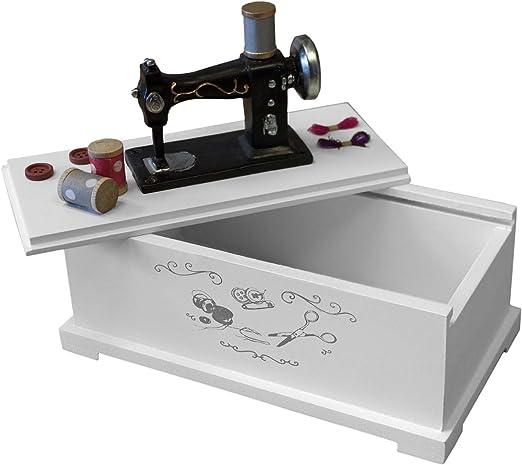 Costurero de color blanco 22 x 17 x 12 cm con tapa deslizante para ...