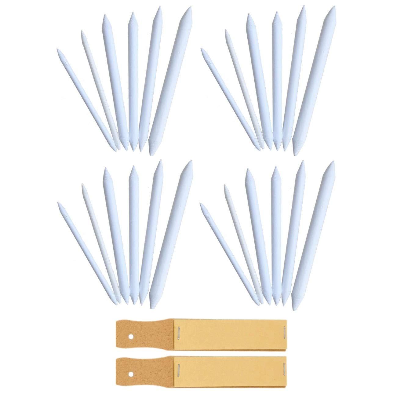 6 misure diverse set sfumini disegno con 2 blocchetti di carta vetrata per temperare punta JZK 24 x Sfumini in carta da disegno per disegnare a matita carboncino