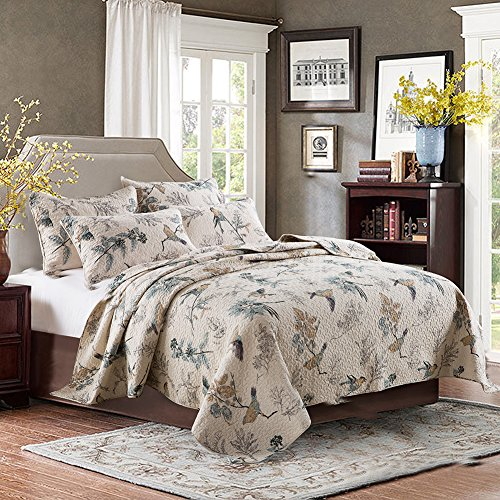 xql 100 cotton american country 3 pieces birds printed quilt set king size