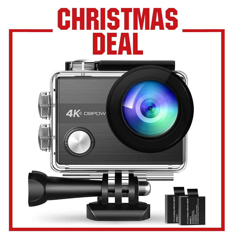 4K Action Camera by DBPOWER N5S 20MP WiFi Ultra HD EIS Sports Cam 170 Degree Adjustable Wide-Angle Lens 30m Underwater Camcorder Including 2 Rechargeable Batteries and Mounting Accessories Kit DB0939