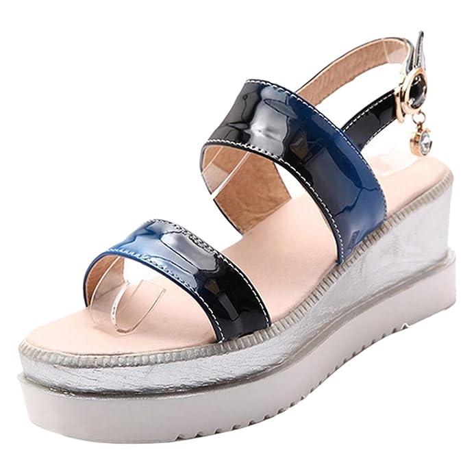 TAOFFEN Damen Casual Slingback Sandalen Plateau Schuhe mit Keilabsatz Blue Size 33 Asian ruGc9J