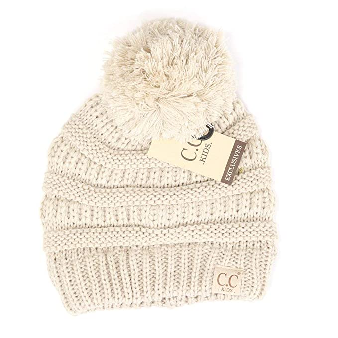 984346cfc1fe1 Motobear Exclusives Kids Beanie Hats Baby Toddler Cable Knit Children s Pom  Winter Hat Beanie Kids 2