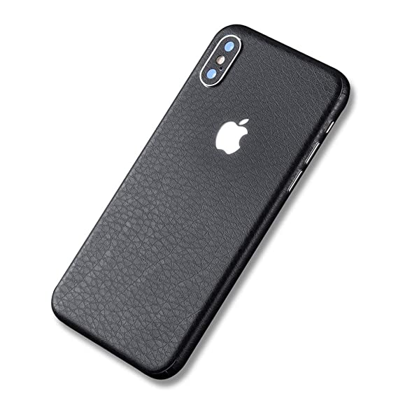quality design 56ba0 4e758 iPhone X Leather Wrap Skin Sticker,Tectom Carbon Fiber Full Edge Sides Back  Protector Decals for iPone XS max XR (Black, iPhone Xs MAX)