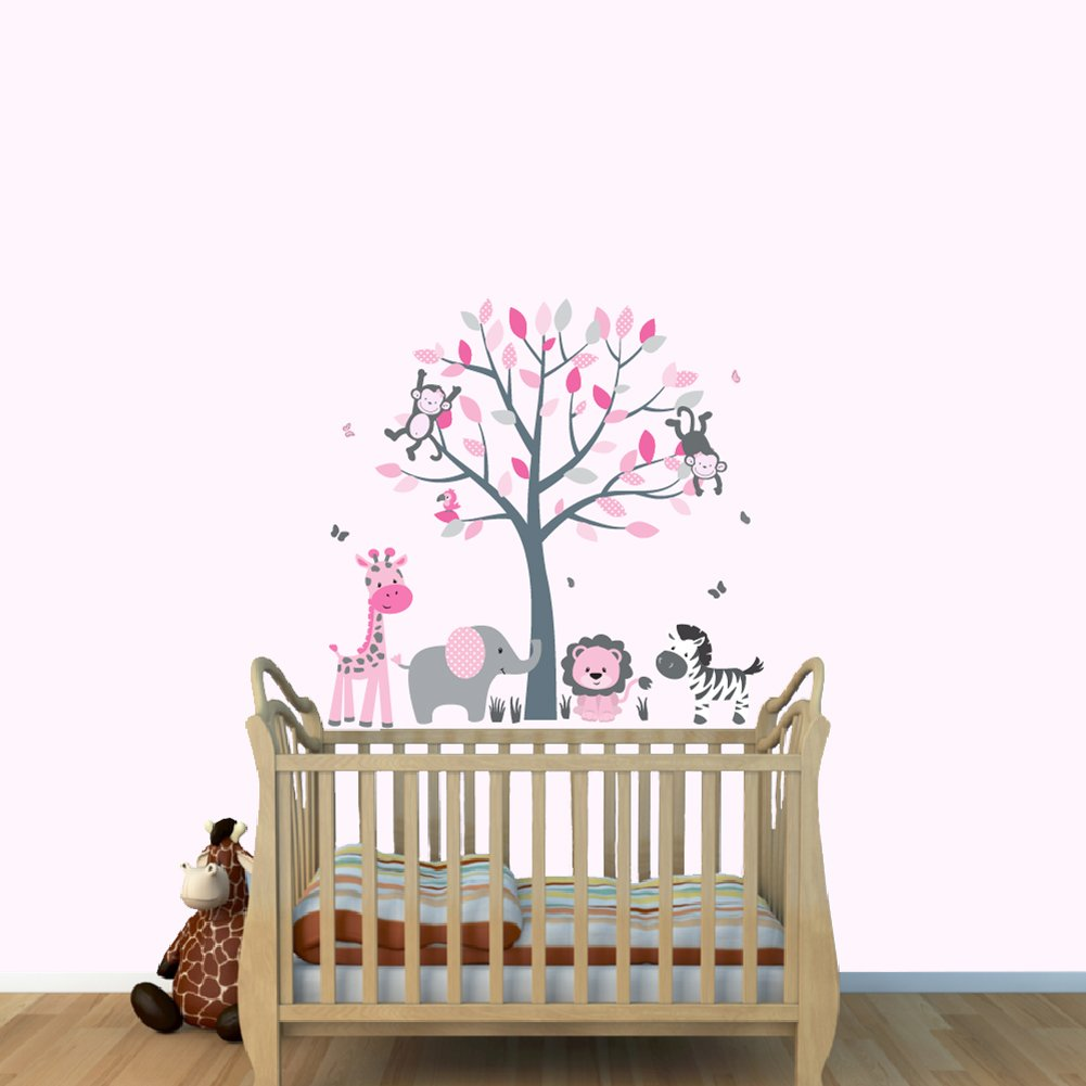 Com Pink Jungle Wall Decals Girl Stickers Baby Nursery Décor Vinyl Tree Decal