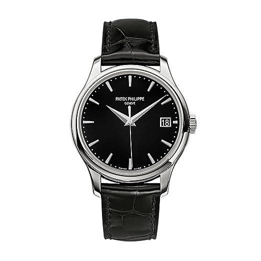 PATEK PHILIPPE CALATRAVA 39 mm blanco oro reloj negro correa de cuero: Patek Philippe: Amazon.es: Relojes
