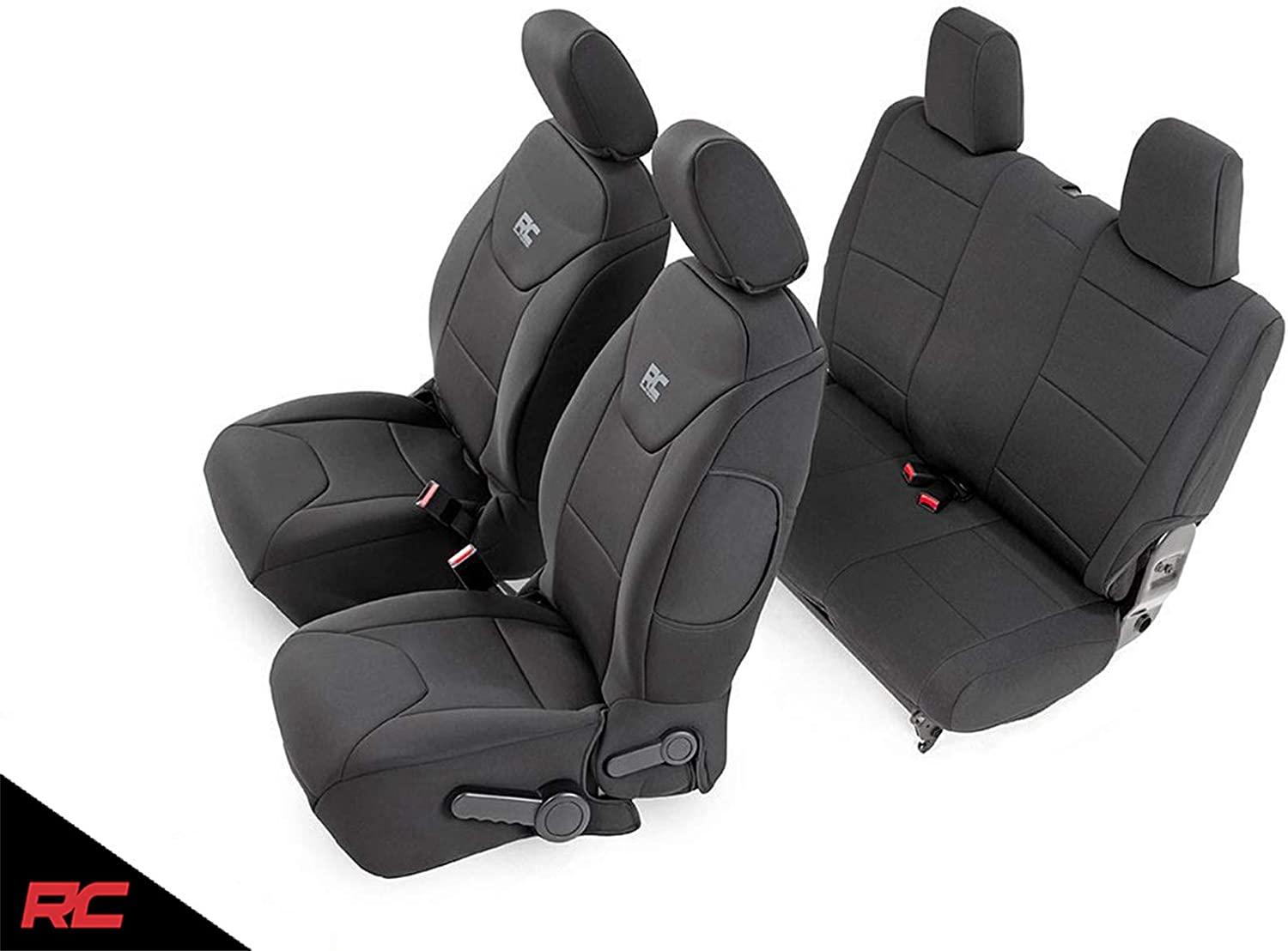 Jeep Wrangler Seat Covers >> Rough Country 91007 Black Neoprene Seat Cover Front Rear For 13 18 Jeep Wrangler Jk 2 Door