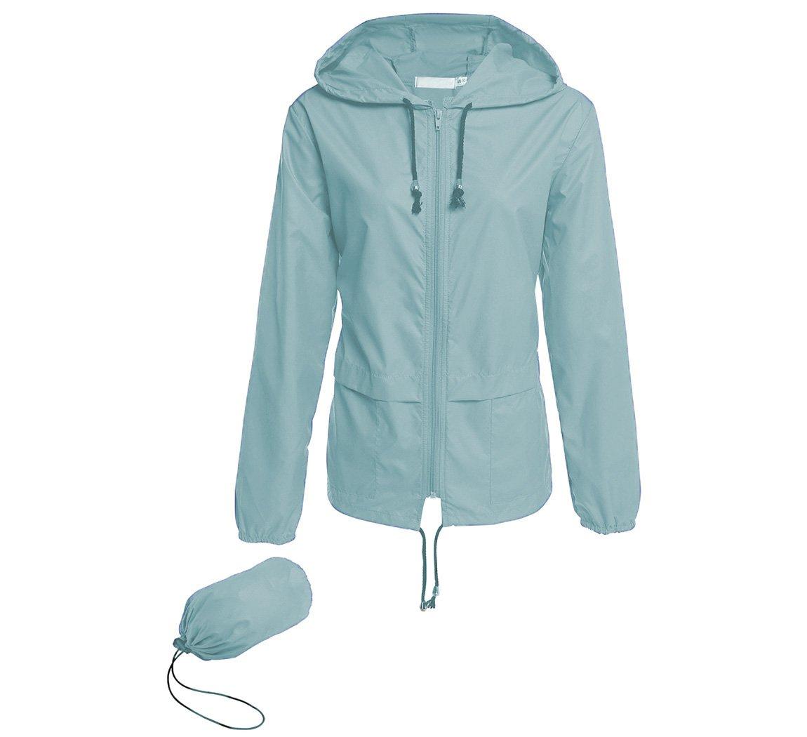 Hount Women's Lightweight Hooded Raincoat Waterproof Packable Active Outdoor Rain Jacket (S, Light Green)