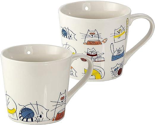 Juego de 2 Tazas Desayuno Originales de Porcelana Fina, Tazas de Café Grandes 15oz con Diseño de Gatos Graciosos, Regalos para Mujer y Hombres Amantes de los Gato: Amazon.es: Hogar