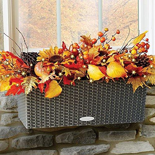 Autumn Foliage Pre Lit Window Planter Box Filler Fall Floral Arrangement Decor (Outdoor Fall Displays)