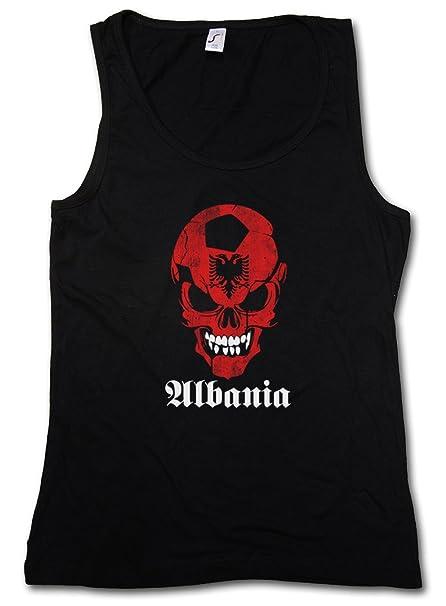 Black Classic Fútbol Football Soccer Albania Skull Flag Mujer Mujer Camiseta SIN Mangas Tank Top –