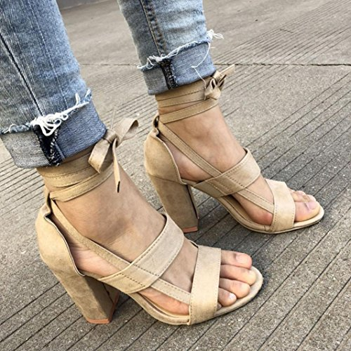 Stacked Chunky Sandals Beige Heel Heel Women's Strap Tenworld Sandal Ankle dvadw