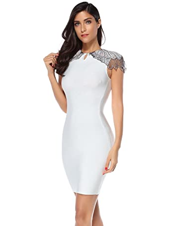 Womens Beads Embellished Cup Sleeves Patchwork Celebrity Bandage Dress