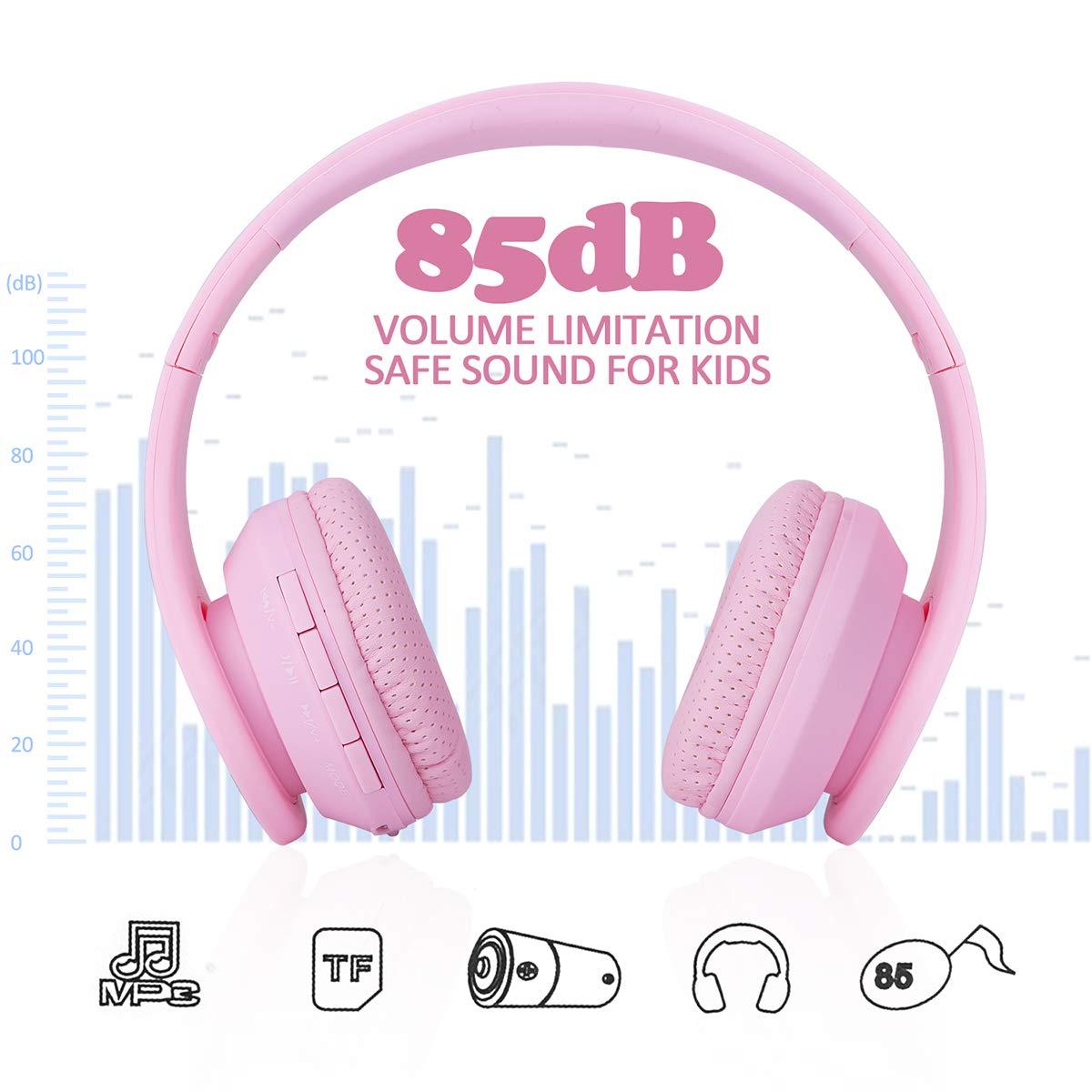 Auriculares Bluetooth para niños, Auriculares inalámbricos para niñas, 85 dB Volumen limitado Plegable, Auricular ligero sobre la oreja con micrófono Ranura ...