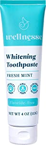 Wellnesse: Whitening Toothpaste - Fresh Mint - 1 Tube, 4 oz - Clean Teeth, Soothe Gums and Freshen Breath - Cruelty-Free, Non-GMO - No Parabens, Sulfates, Glycerin, or Fluoride