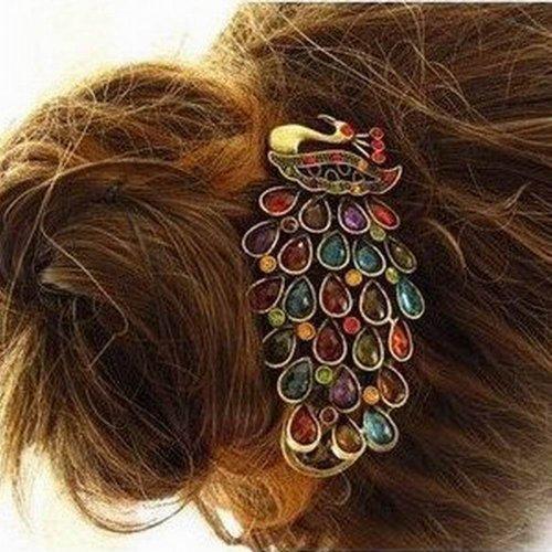 Armear Retro Hair Barrettes - Vintage Colorful Crystal Peacock Hair Pin Hair Clip No Slip for Womens Girls