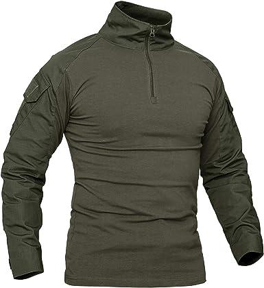KEFITEVD Camiseta Camuflaje Hombre Primavera 1/4 Cremallera Militar Militar Táctico Camisa Slim Fit Ejercito Verde